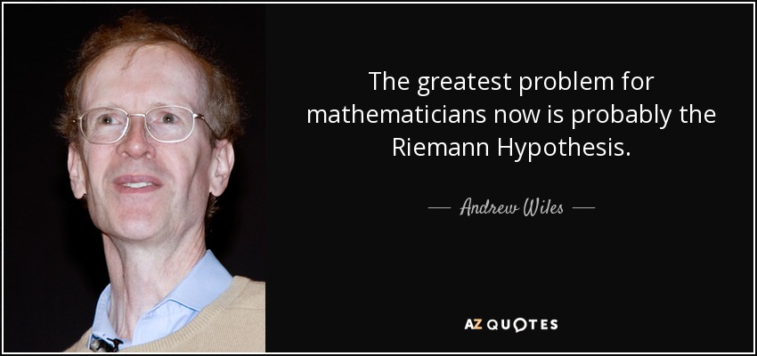 The greatest problem for mathematicians now is probably the Riemann Hypothesis. - Andrew Wiles