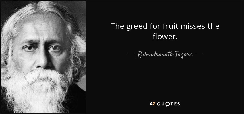 The greed for fruit misses the flower. - Rabindranath Tagore