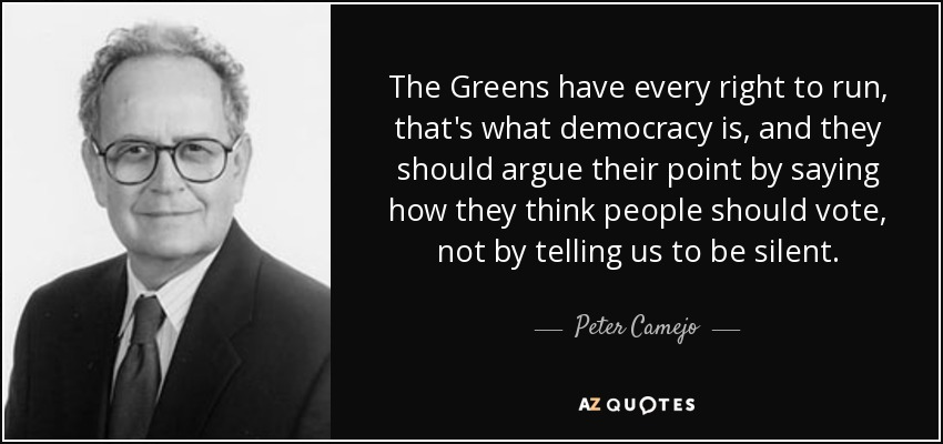 The Greens have every right to run, that's what democracy is, and they should argue their point by saying how they think people should vote, not by telling us to be silent. - Peter Camejo