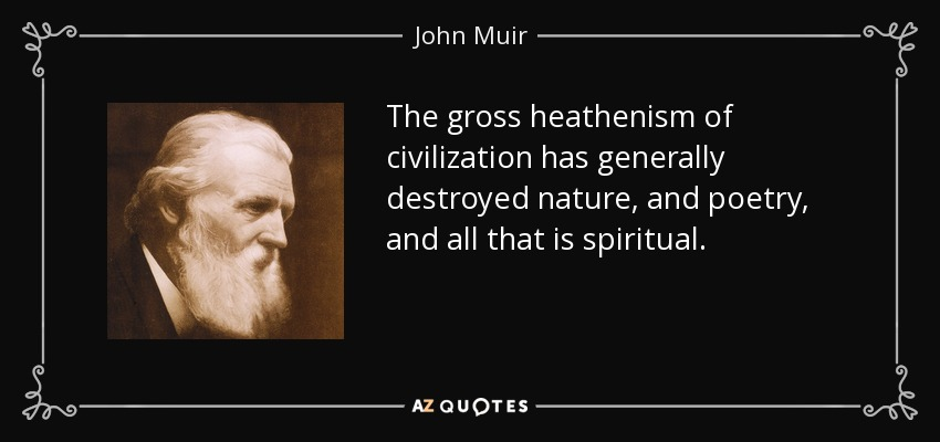 The gross heathenism of civilization has generally destroyed nature, and poetry, and all that is spiritual. - John Muir