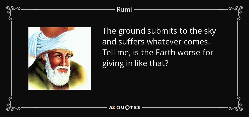 The ground submits to the sky and suffers whatever comes. Tell me, is the Earth worse for giving in like that? - Rumi