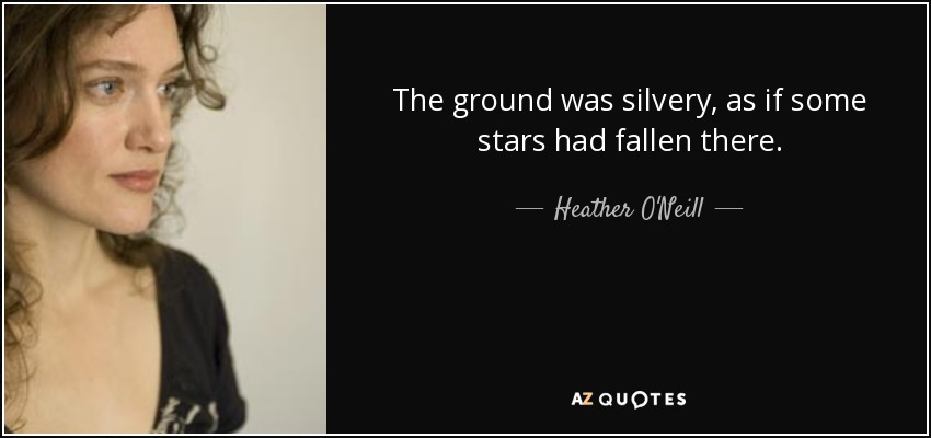 The ground was silvery, as if some stars had fallen there. - Heather O'Neill