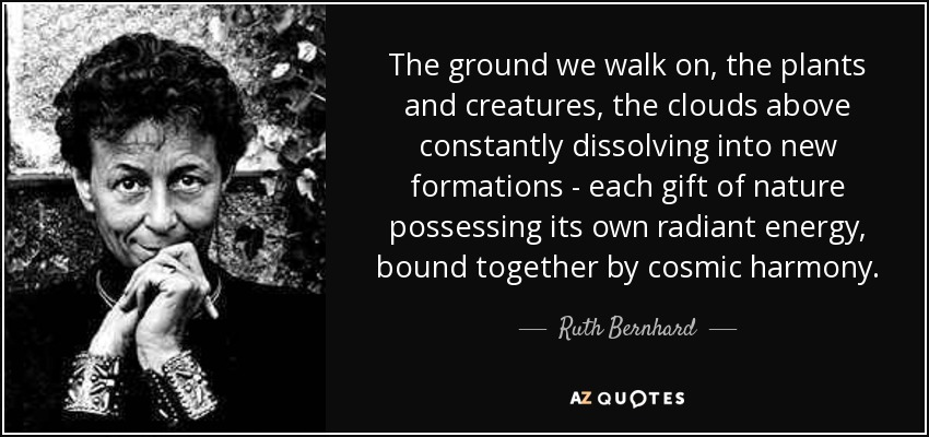 The ground we walk on, the plants and creatures, the clouds above constantly dissolving into new formations - each gift of nature possessing its own radiant energy, bound together by cosmic harmony. - Ruth Bernhard