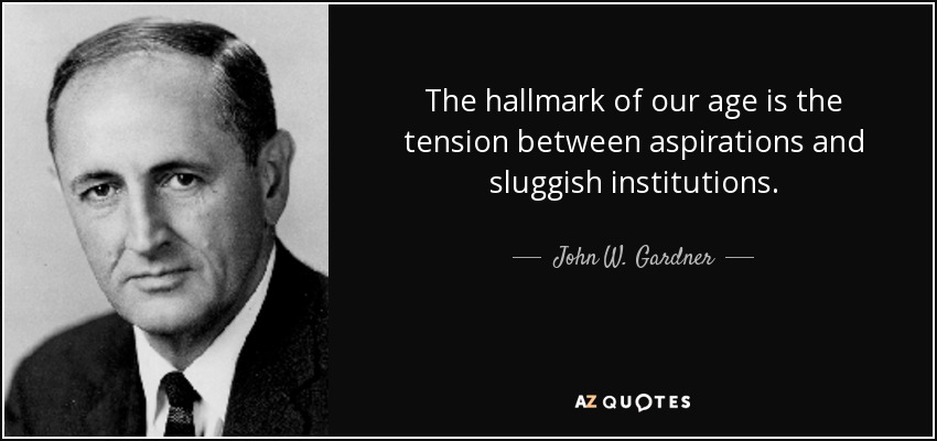 The hallmark of our age is the tension between aspirations and sluggish institutions. - John W. Gardner