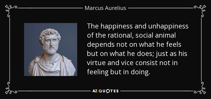 The happiness and unhappiness of the rational, social animal depends not on what he feels but on what he does; just as his virtue and vice consist not in feeling but in doing. - Marcus Aurelius