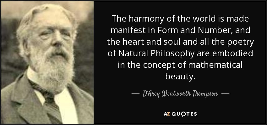 The harmony of the world is made manifest in Form and Number, and the heart and soul and all the poetry of Natural Philosophy are embodied in the concept of mathematical beauty. - D'Arcy Wentworth Thompson