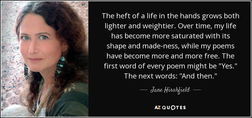 Jane Hirshfield a hand