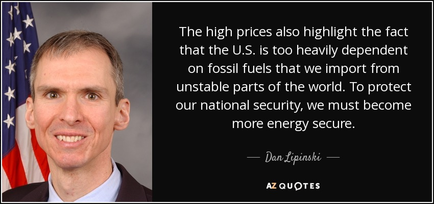 The high prices also highlight the fact that the U.S. is too heavily dependent on fossil fuels that we import from unstable parts of the world. To protect our national security, we must become more energy secure. - Dan Lipinski
