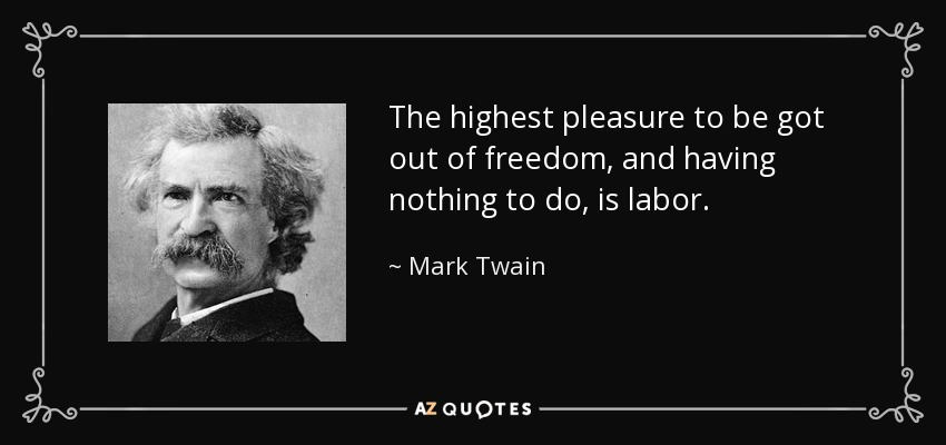 The highest pleasure to be got out of freedom, and having nothing to do, is labor. - Mark Twain