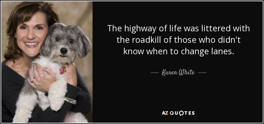 The highway of life was littered with the roadkill of those who didn't know when to change lanes. - Karen White