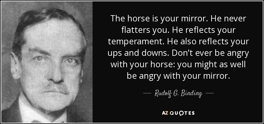 Rudolf G. Binding quote: The horse is your mirror. He never ...