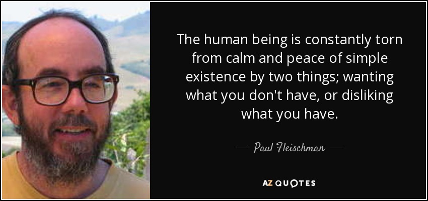 The human being is constantly torn from calm and peace of simple existence by two things; wanting what you don't have, or disliking what you have. - Paul Fleischman