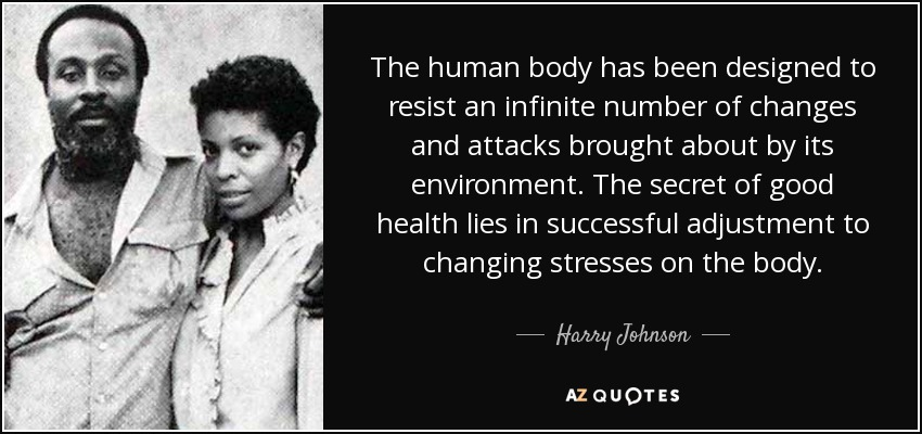 The human body has been designed to resist an infinite number of changes and attacks brought about by its environment. The secret of good health lies in successful adjustment to changing stresses on the body. - Harry Johnson