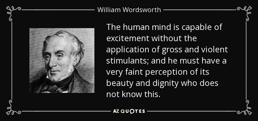 The human mind is capable of excitement without the application of gross and violent stimulants; and he must have a very faint perception of its beauty and dignity who does not know this. - William Wordsworth