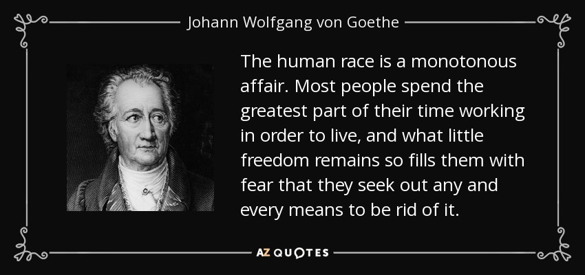 The human race is a monotonous affair. Most people spend the greatest part of their time working in order to live, and what little freedom remains so fills them with fear that they seek out any and every means to be rid of it. - Johann Wolfgang von Goethe