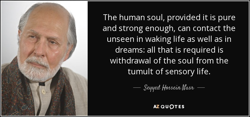 The human soul, provided it is pure and strong enough, can contact the unseen in waking life as well as in dreams: all that is required is withdrawal of the soul from the tumult of sensory life. - Seyyed Hossein Nasr