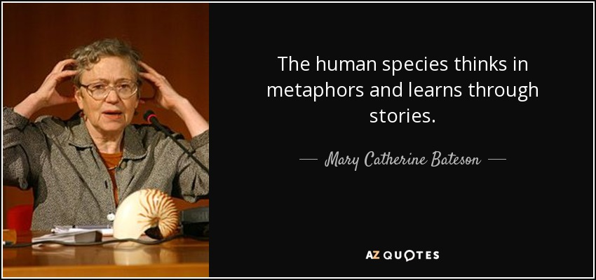 The human species thinks in metaphors and learns through stories. - Mary Catherine Bateson