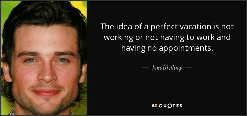 The idea of a perfect vacation is not working or not having to work and having no appointments. - Tom Welling