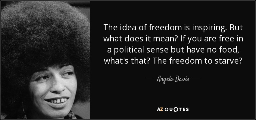 The idea of freedom is inspiring. But what does it mean? If you are free in a political sense but have no food, what's that? The freedom to starve? - Angela Davis