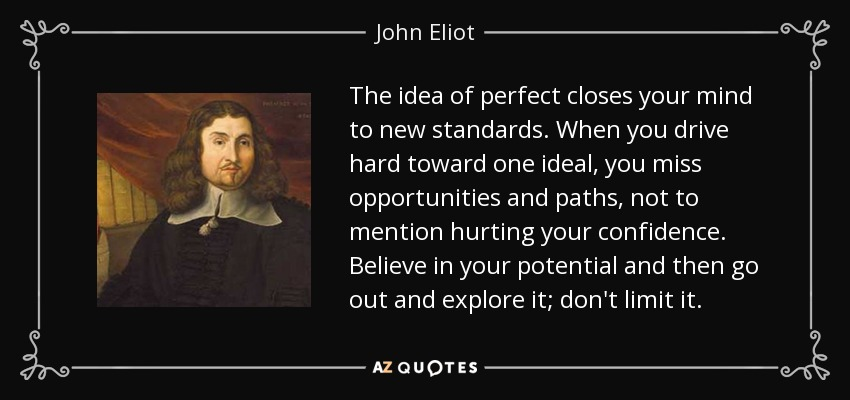 The idea of perfect closes your mind to new standards. When you drive hard toward one ideal, you miss opportunities and paths, not to mention hurting your confidence. Believe in your potential and then go out and explore it; don't limit it. - John Eliot