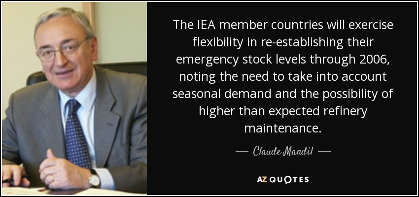 The IEA member countries will exercise flexibility in re-establishing their emergency stock levels through 2006, noting the need to take into account seasonal demand and the possibility of higher than expected refinery maintenance. - Claude Mandil