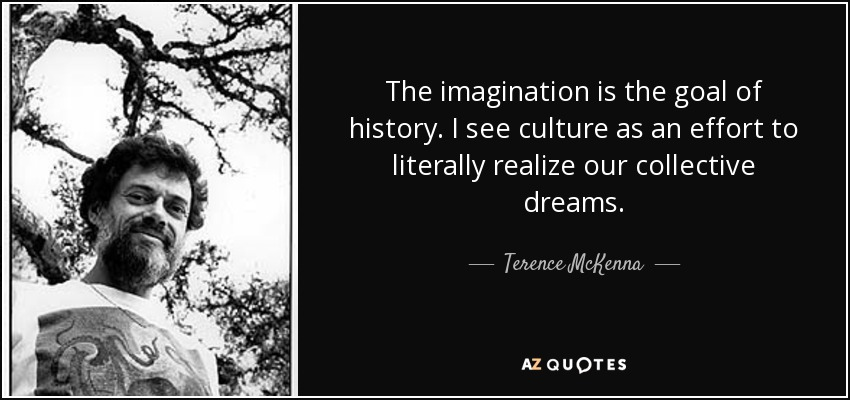 The imagination is the goal of history. I see culture as an effort to literally realize our collective dreams. - Terence McKenna