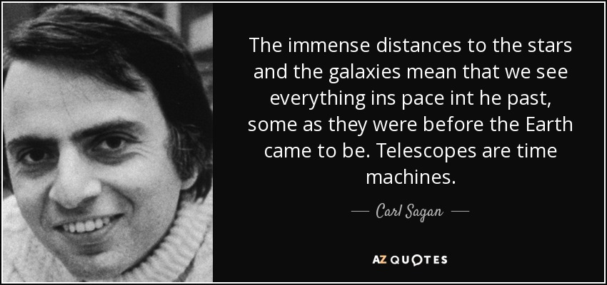 The immense distances to the stars and the galaxies mean that we see everything ins pace int he past, some as they were before the Earth came to be. Telescopes are time machines. - Carl Sagan
