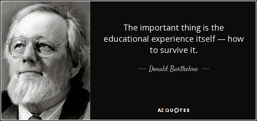 The important thing is the educational experience itself — how to survive it. - Donald Barthelme