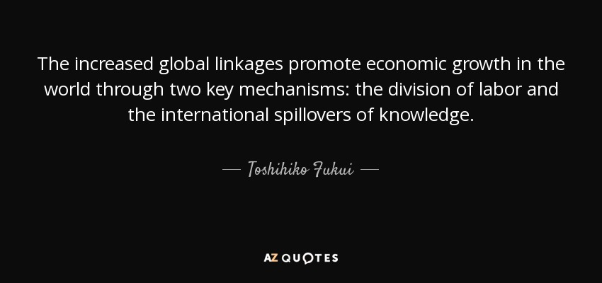 The increased global linkages promote economic growth in the world through two key mechanisms: the division of labor and the international spillovers of knowledge. - Toshihiko Fukui