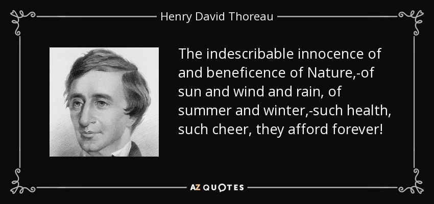 The indescribable innocence of and beneficence of Nature,-of sun and wind and rain, of summer and winter,-such health, such cheer, they afford forever! - Henry David Thoreau
