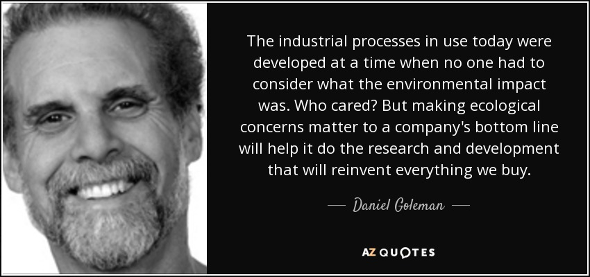 The industrial processes in use today were developed at a time when no one had to consider what the environmental impact was. Who cared? But making ecological concerns matter to a company's bottom line will help it do the research and development that will reinvent everything we buy. - Daniel Goleman