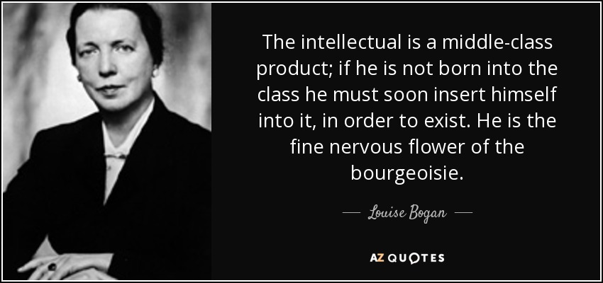 The intellectual is a middle-class product; if he is not born into the class he must soon insert himself into it, in order to exist. He is the fine nervous flower of the bourgeoisie. - Louise Bogan
