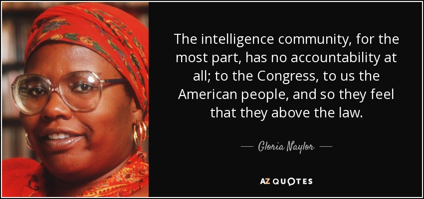 The intelligence community, for the most part, has no accountability at all; to the Congress, to us the American people, and so they feel that they above the law. - Gloria Naylor