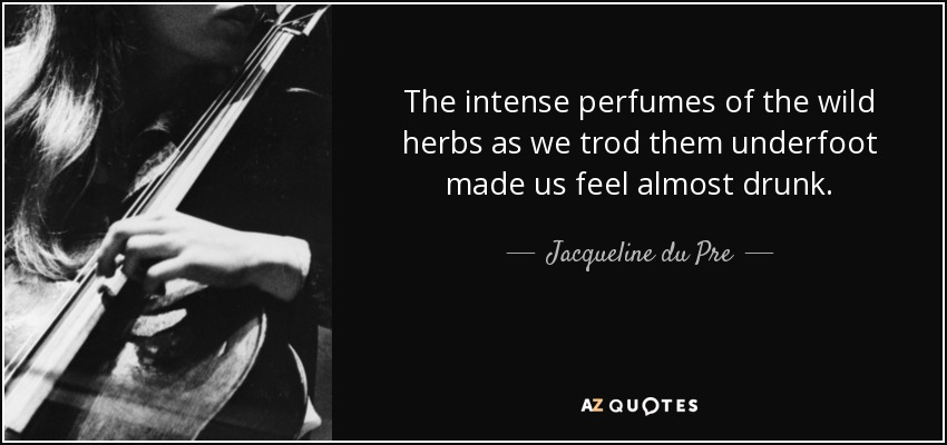 The intense perfumes of the wild herbs as we trod them underfoot made us feel almost drunk. - Jacqueline du Pre