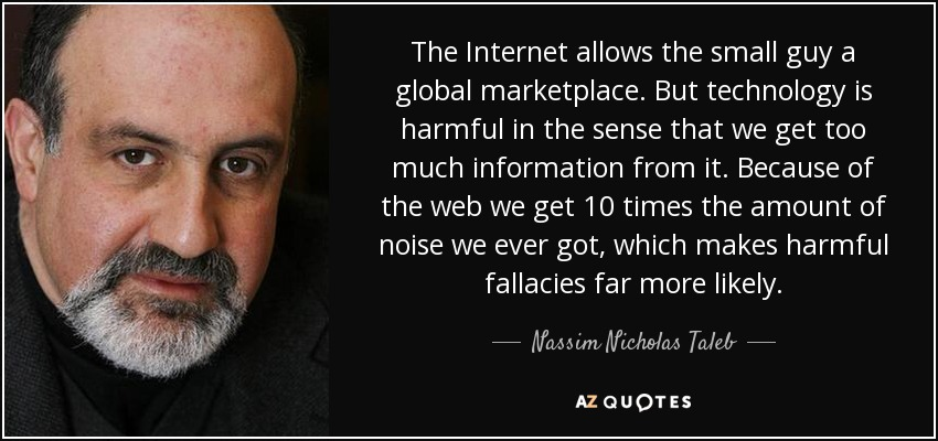 The Internet allows the small guy a global marketplace. But technology is harmful in the sense that we get too much information from it. Because of the web we get 10 times the amount of noise we ever got, which makes harmful fallacies far more likely. - Nassim Nicholas Taleb