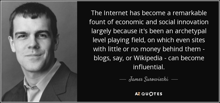 The Internet has become a remarkable fount of economic and social innovation largely because it's been an archetypal level playing field, on which even sites with little or no money behind them - blogs, say, or Wikipedia - can become influential. - James Surowiecki