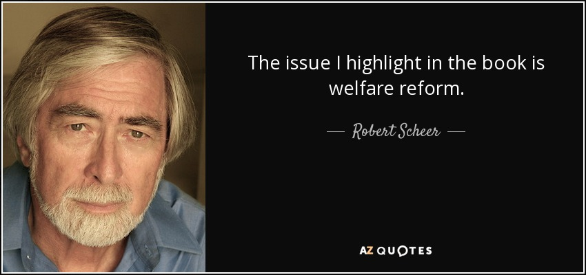 The issue I highlight in the book is welfare reform. - Robert Scheer
