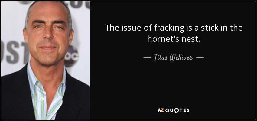 The issue of fracking is a stick in the hornet's nest. - Titus Welliver