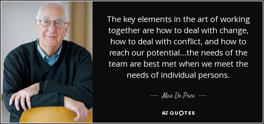 The key elements in the art of working together are how to deal with change, how to deal with conflict, and how to reach our potential...the needs of the team are best met when we meet the needs of individual persons. - Max De Pree