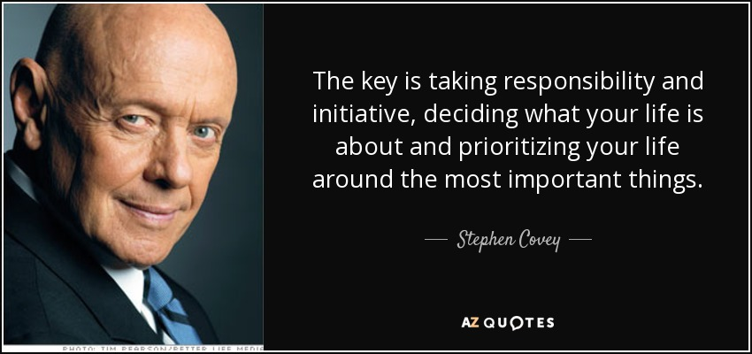 Stephen Covey Quote The Key Is Taking Responsibility And Initiative Deciding What Your