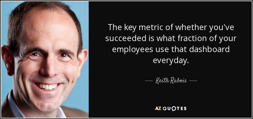 The key metric of whether you've succeeded is what fraction of your employees use that dashboard everyday. - Keith Rabois