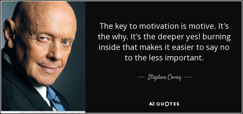 The key to motivation is motive. It's the why. It's the deeper yes! burning inside that makes it easier to say no to the less important. - Stephen Covey
