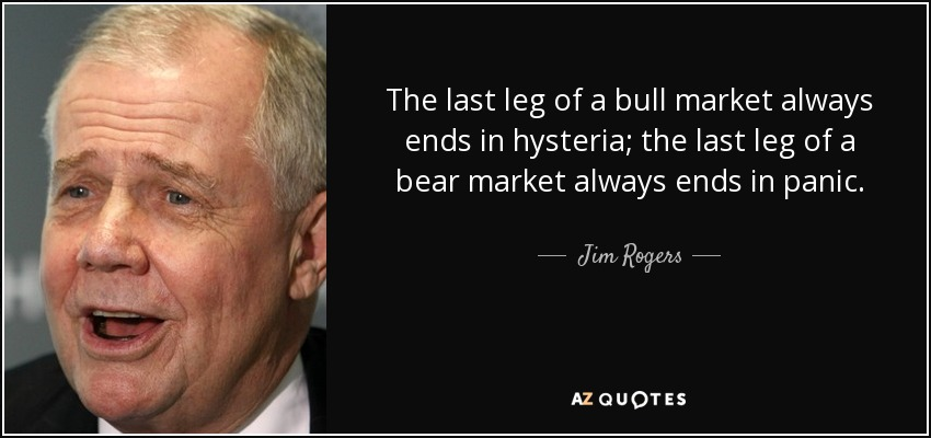 The last leg of a bull market always ends in hysteria; the last leg of a bear market always ends in panic. - Jim Rogers