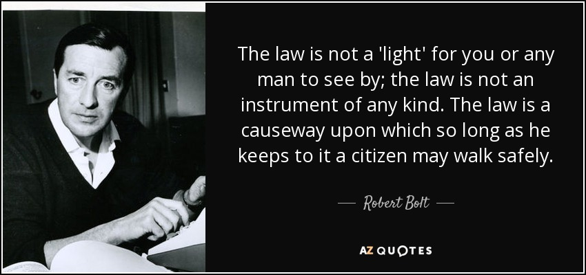 The law is not a 'light' for you or any man to see by; the law is not an instrument of any kind. The law is a causeway upon which so long as he keeps to it a citizen may walk safely. - Robert Bolt