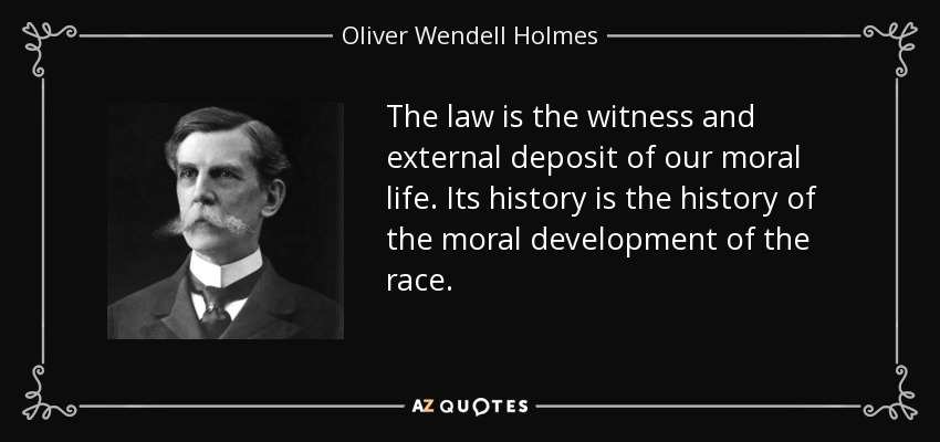 The law is the witness and external deposit of our moral life. Its history is the history of the moral development of the race. - Oliver Wendell Holmes, Jr.