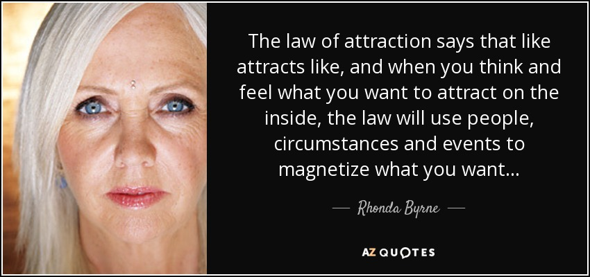 The law of attraction says that like attracts like, and when you think and feel what you want to attract on the inside, the law will use people, circumstances and events to magnetize what you want... - Rhonda Byrne