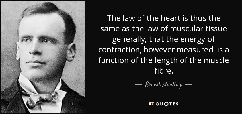The law of the heart is thus the same as the law of muscular tissue generally, that the energy of contraction, however measured, is a function of the length of the muscle fibre. - Ernest Starling