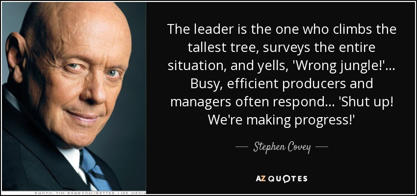 Stephen Covey Quote The Leader Is The One Who Climbs The