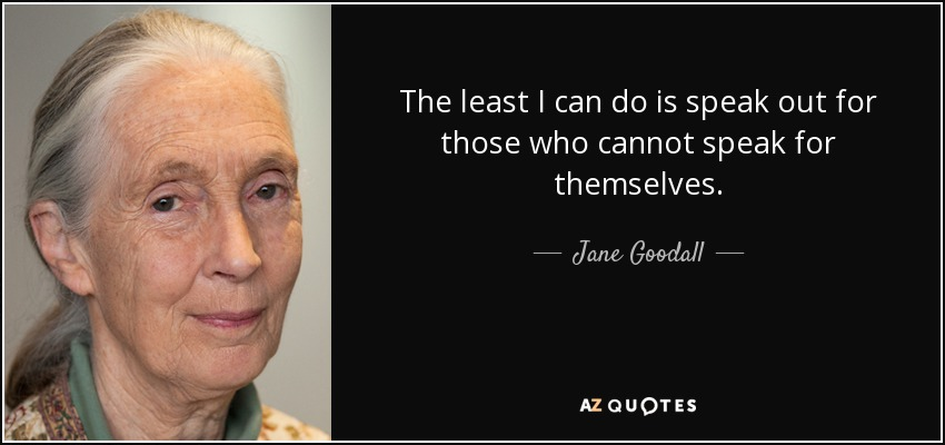 The least I can do is speak out for those who cannot speak for themselves. - Jane Goodall