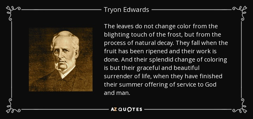 The leaves do not change color from the blighting touch of the frost, but from the process of natural decay. They fall when the fruit has been ripened and their work is done. And their splendid change of coloring is but their graceful and beautiful surrender of life, when they have finished their summer offering of service to God and man. - Tryon Edwards